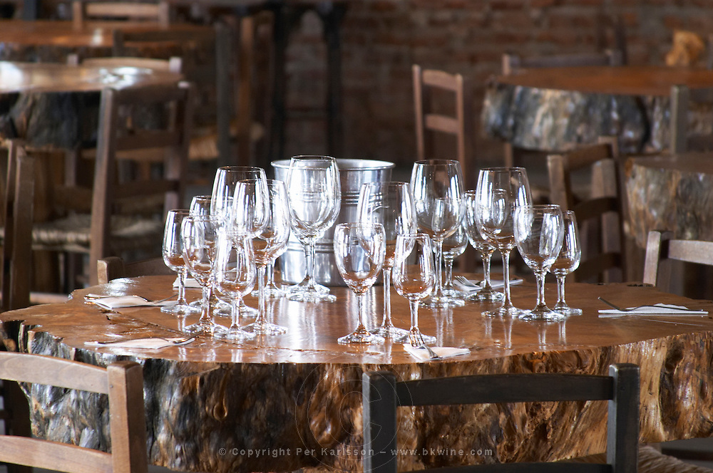 In the tasting room: tables set up for a big wine tasting with glasses on the tables, lit by sunshine coming through the windows. table made from a thick section of a big tree. Bodega Juanico Familia Deicas Winery, Juanico, Canelones, Uruguay, South America