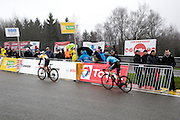 Belgium, Sunday 13th December 2015: Riders ascend the steep Raidillon corner part of the Spa Francorchamps motor racing circuit during the women's race at the Hansgrohe Superprestige cyclocross 2015 event.<br /> <br /> Copyright 2015 Peter Horrell