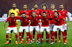 Turkey players pose for a photograph before kick-off in the international friendly match at the Antalya Stadium. PRESS ASSOCIATION Photo. Picture date: Friday March 23, 2018. See PA story SOCCER Turkey. Photo credit should read: Tim Goode/PA Wire. RESTRICTIONS: Editorial use only, No commercial use without prior permission.