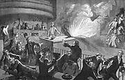 Guillaume Francois Rouelle (1703-1770) French chemist. Lavoisier's teacher; Professor (demonstrateur) at Jardin du Roi, Paris. Did much to popularise chemistry. A diversion during one of Rouelle's lectures. From 'Vies des Savants Illustres: Savants du XVIIIe Siecle' by Louis Figuier. (Paris, 1874). Engraving.