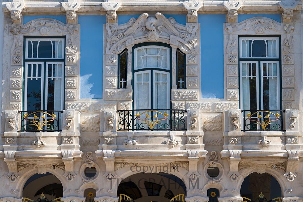 The ornate Museu Arte Nova - Modern Art Museum and Casa de Cha with traditional balconies - in Aveiro, Portugal