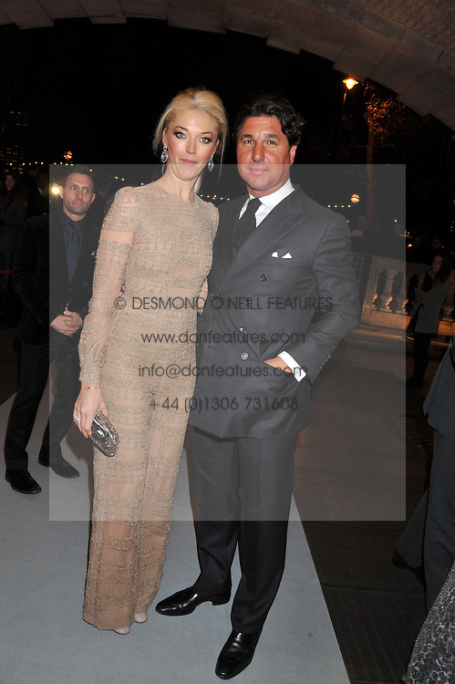 TAMARA BECKWITH and GIORGIO VERONI at a private view of 'Valentino: Master Of Couture' at Somerset House, London on 28th November 2012.