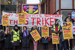 © Licensed to London News Pictures. 22/02/2018. Bristol, UK. University and College Union (UCU) nation wide strike. UCU lecturers begin a two day strike at the University of Bristol, holding a picket outside the administrative centre Senate House with support from some students. Lecturers and other university staff will hold an escalating wave of strikes over a four-week period at 61 universities across the country over a change in their pensions. The dispute centres on proposals to end the defined benefit element of the Universities Superannuation Scheme (USS) pension scheme. UCU says this would leave a typical lecturer almost £10,000 a year worse off in retirement than under the current set-up. Photo credit: Simon Chapman/LNP