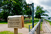 Henley-On-Thames, Berkshire, UK., Saturday, 12/06/2021,  2021 Regatta Course Construction, Thames Path Notice Reminding Cyclist of Walkers Hikers priority, [Mandatory Credit © Peter Spurrier/Intersport Images],