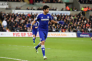 Diego Costa of Chelsea celebrates after he scores his teams 3rd goal.Barclays Premier League match, Swansea city v Chelsea at the Liberty Stadium in Swansea, South Wales on Saturday 17th Jan 2015.<br /> pic by Andrew Orchard, Andrew Orchard sports photography.