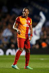 Galatasaray Forward Didier Drogba (CIV) looks dejected after Chelsea score - Photo mandatory by-line: Rogan Thomson/JMP - 18/03/2014 - SPORT - FOOTBALL - Stamford Bridge, London - Chelsea v Galatasaray - UEFA Champions League Round of 16 Second leg.