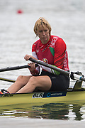 Plovdiv, Bulgaria, 10th May 2019, FISA, Rowing World Cup 1,  Start Area, BLR W1X, Ekaterina KARSTEN,  move's away from the start pontoon in her heat of the Women's Single Sculls. [© Peter SPURRIER],
