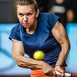 May 11, 2017 - Madrid, Spain - SIMONA HALEP of Romania returns the ball to C. Vandeweghe of the USA in the quarter-final of the 'Mutua Madrid Open' 2017. Halep won 6:1, 6:1. (Credit Image: © Matthias Oesterle via ZUMA Wire)