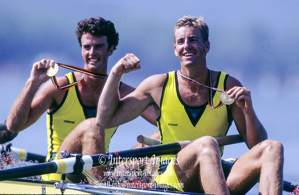 Barcelona Olympics 1992 - Lake Banyoles, SPAIN, Gold Medallist, AUS M4- [Oarsome Foursome] lRight: James TOMKINS and   Nick GREEN, [Mandatory Credit; Peter SPURRIER; Intersportsport Images]