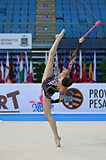 Chalopin Lucille during qualifying at clubs in Pesaro World Cup at Adriatic Arena on April 26, 2013. Lucille is a French individual rhythmic gymnast was born on 4 March 1996 in Paris.