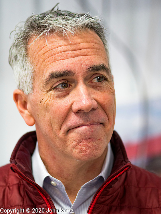 """24 JANUARY 2020 - POLK CITY, IOWA: JOE WALSH at a campaign event in Polk City, northwest of Des Moines. Walsh, a conservative radio personality, former Republican congressman, and one time supporter of Donald Trump is now challenging Trump for the Republican nomination for the US Presidency. During his appearance in Polk City, Walsh said Trump is unfit to be the President because he is a """"cheater,"""" a climate change denier, and a """"threat"""" to the United States. PHOTO BY JACK KURTZ"""