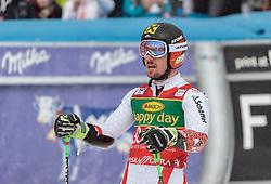 04.03.2017, Podkoren, Kranjska Gora, SLO, FIS Weltcup Ski Alpin, Kranjska Gora, Riesenslalom, Herren, 2. Lauf, im Bild Marcel Hirscher (AUT, 1. Platz) // race winner Marcel Hirscher of Austria reacts after his 2nd run of men's Giant Slalom of FIS ski alpine world cup at the Podkoren in Kranjska Gora, Slovenia on 2017/03/04. EXPA Pictures © 2017, PhotoCredit: EXPA/ Johann Groder