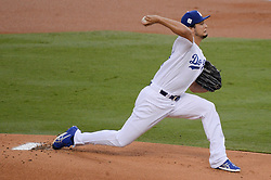 November 1, 2017 - Los Angeles, CA, United States - Dodgers Yu Darvish, #21, started game 7 for the Dodgers at the World Series at Dodger Stadium Wednesday, November 1, 2017. (Credit Image: © David Crane/Los Angeles Daily News via ZUMA Wire)