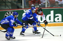 Mikko Koivu, Niko Kapanen of Finland and Brent Burns of Canada at ice-hockey game Canada vs Finland at Qualifying round Group F of IIHF WC 2008 in Halifax, on May 12, 2008 in Metro Center, Halifax, Nova Scotia, Canada. Canada won 6:3. (Photo by Vid Ponikvar / Sportal Images)