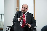 22 FEB 2016, BERLIN/GERMANY:<br /> Martin Schulz, SPD, Praesident des Europaeischen Parlamentes, waehrend einem Interview, Spiegel Hauptstadtbuero<br /> IMAGE: 20160222-01-037