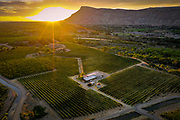 SHOT 7/11/20 8:27:41 PM - Aerial views of fruit and grape orchards in Palisade, Co. as the sun sets one evening in summertime. Palisade is a Statutory Town in Mesa County, Colorado. The population was 2,692 at the time of the 2010 census. Palisade was named for the cliffs close to town and is known for its peach orchards and wine vineyards. (Photo by Marc Piscotty / © 2020)