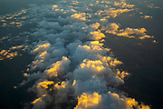 Beautiful cloudscape at dusk as seen from above over the Gulf of Aqaba