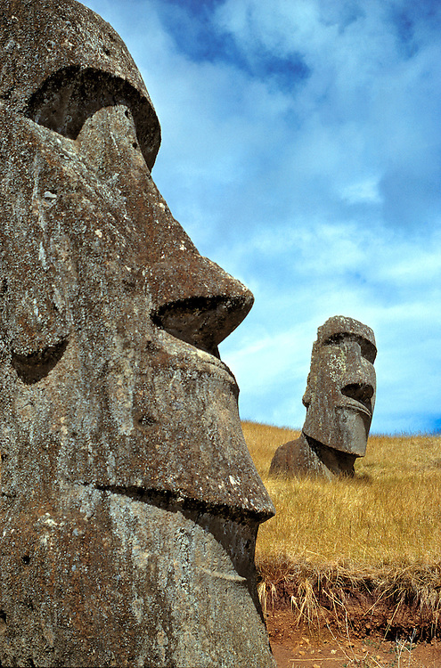 The moai have pensive expressions at Rano Raraku on Easter Island, a World Heritage Site.