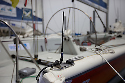 Race Boat Branding/Layout. Detail of Virtual Eye transmitter aerial. Korea Match Cup 2010. World Match Racing Tour. Gyeonggi, Korea. 10th June 2010. Photo: Ian Roman/Subzero Images.