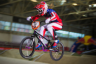 #11 (POST Alise) USA at the 2014 UCI BMX Supercross World Cup in Manchester.