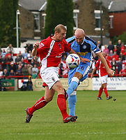 Photo: Andrew Unwin.<br />Accrington Stanley v Wycombe Wanderers. Coca Cola League 2. 30/09/2006.<br />Wycombe's Tommy Mooney (R) takes a shot.