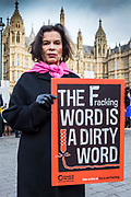"Bianca Jagger joins other anti-fracking protesters gathered outside parliament while MP's debate the future of shale. <br /> The protest comes as a group of MPs also warn that fracking must be stopped in the UK because it is ""incompatible"" with climate change targets and could increase the risk of environmental damage to public health. Westminster, London, United Kingdom."