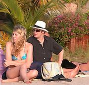**EXCLUSIVE**.Duran Duran's Simon Le Bon with wife Yasmin at Shell Beach.St. Barth, Caribbean.Tuesday, January, 06, 2003.Photo By Celebrityvibe.com/Photovibe.com...