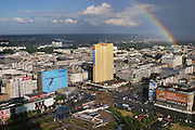 A rainbow over Warsaw, Poland, seen from the Palace of Culture and Science after a late afternoon rainstorm.