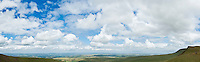 Panoramic view over countryside from Bannu Sir Gaer ridge, Black Mountain, Brecon Beacons national park, Wales