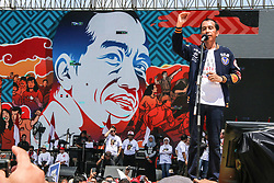 March 23, 2019 - Candidates for President Incumbent Joko Widodo greeted his supporters while attending the Jogja Unite Indonesian Alumni Declaration at the Kridosono Stadium, Yogyakarta, Saturday, March 23, 2019. Jokowi invited all his supporters to oversee the 2019 Election process and use their right to vote for Indonesia's future. (Credit Image: © Slamet Riyadi/ZUMA Wire)