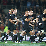 The All Blacks perform the Haka before the New Zealand V Australia Tri-Nations, Bledisloe Cup match at Eden Park, Auckland. New Zealand. 6th August 2011. Photo Tim Clayton