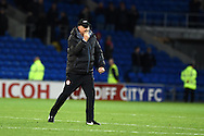 Cardiff city's manager Russell Slade celebrates at the final whistle after his team win the match 3-1.  Skybet football league championship match, Cardiff city v Ipswich Town at the Cardiff city stadium in Cardiff, South Wales on Tuesday 21st October 2014<br /> pic by Andrew Orchard, Andrew Orchard sports photography.