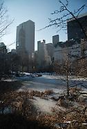New York. Central park in winter in the snow ,  Manhattan  New York  Usa /  Central park, en hiver dans la neige.