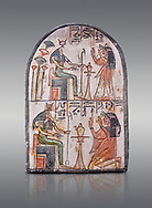 """Ancient Egyptian Ra stele , limestone, New Kingdom, 19th Dynasty, (1279-1190 BC), Deir el-Medina,  Egyptian Museum, Turin. Grey background.<br /> <br /> Akh iqer en Ra """" the excellent spirit of Ra' stele. One of three stele forund in different rooms of houses in Deir el-Medina where they stood in niches .<br /> <br /> If you prefer to buy from our ALAMY PHOTO LIBRARY  Collection visit : https://www.alamy.com/portfolio/paul-williams-funkystock/ancient-egyptian-art-artefacts.html  . Type -   Turin   - into the LOWER SEARCH WITHIN GALLERY box. Refine search by adding background colour, subject etc<br /> <br /> Visit our ANCIENT WORLD PHOTO COLLECTIONS for more photos to download or buy as wall art prints https://funkystock.photoshelter.com/gallery-collection/Ancient-World-Art-Antiquities-Historic-Sites-Pictures-Images-of/C00006u26yqSkDOM"""