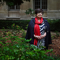 PARIS, FRANCE. SEPTEMBER 12, 2013. Ana Soto at the Ecole Normale Superieure, in a courtyard. She's one of the leading researchers at Tufts School of Medicine and has been named to a Blaise Pascal Chair in France for the coming year. Photo: Antoine Doyen