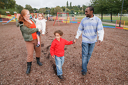 Family in playground