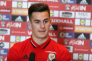 Tom Lawrence of Wales speaks to the press during the Wales football team players media session at the Vale Resort Hotel, Hensol , South Wales on Tuesday 3rd October 2017, the team are preparing for their FIFA World Cup qualifier away to Georgia this week. pic by Andrew Orchard, Andrew Orchard sports photography
