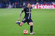 Dani Alves of Paris Saint-Germain shoots at goal during the Champions League Round of 16 2nd leg match between Paris Saint-Germain and Manchester United at Parc des Princes, Paris, France on 6 March 2019.