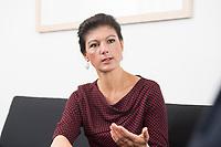 16 MAY 2016, BERLIN/GERMANY:<br /> Sahra Wagenknecht, MdB, Die Linke, Fraktionsvorsitzende DIe Linke Bundestagsfraktion, waehrend einem Interview, in ihrem Buero, Jakob-Kaiser-Haus, Deutscher Bundestag<br /> IMAGE: 20170516-02-048<br /> KEYWORDS: Büro
