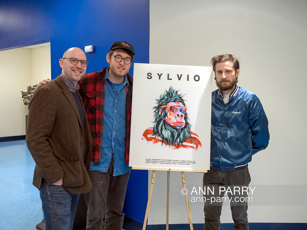 "Hempstead, New York, USA. October 30, 2017. Film event of screening of SYLVIO, a fantasy feature film, and Q&A with ALBERT BIRNEY, KENTUCKER AUDLEY, and moderator RUSSELL HARBAUGH, is hosted by the Radio, Television, Film Department of the Lawrence Herbert School of Communication of Hofstra University, at Breslin Hall. Birney is gorilla Sylvio Bernardi, and Audley co-stars as a talk show host, and they're the film's directors, and, with Meghan Doherty, its screenwriters. SYLVIO originated as a Vine character created by Birney. ""SYLVIO, a film festival favorite, is about an ordinary gorilla trying to live a simple life."""