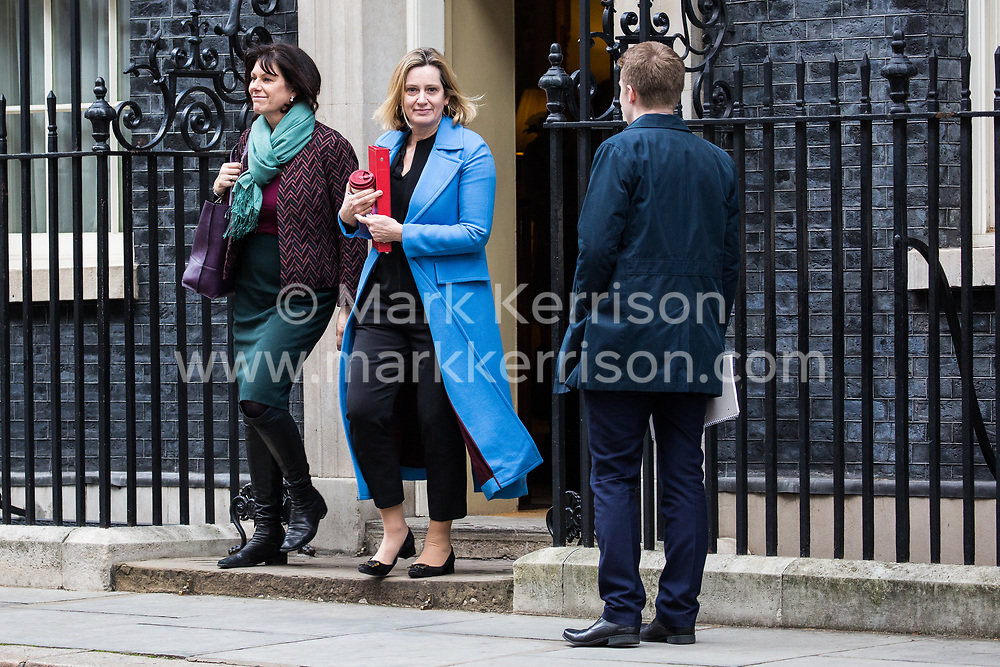 London, UK. 29th January, 2019. Claire Perry MP, Minister for Energy and Clean Growth at the Department of Business, Energy and Industrial Strategy, and Amber Rudd MP, Secretary of State for Work and Pensions, leave 10 Downing Street following a Cabinet meeting on the day of votes in the House of Commons on amendments to Prime Minister Theresa May's final Brexit withdrawal agreement which could determine the content of the next stage of negotiations with the European Union.