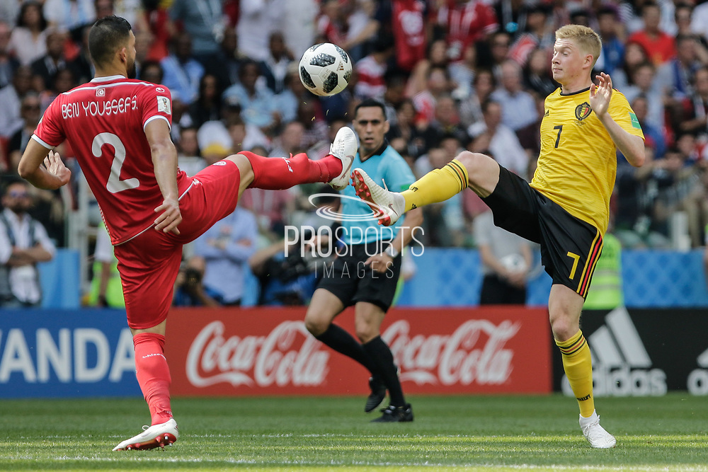 Syam Ben Youssef of Tunisia and Kevin De Bruyne of Belgium during the 2018 FIFA World Cup Russia, Group G football match between Belgium and Tunisia on June 23, 2018 at Spartak Stadium in Moscow, Russia - Photo Thiago Bernardes / FramePhoto / ProSportsImages / DPPI