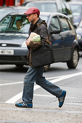 Man walking on street, Westport, County Mayo, Ireland