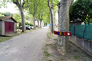Merci sign in empty street of a small village during covid 19 crisis and lockdown France May 2020