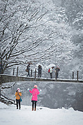 Scenic winter landscape with group of tourists on bridge, Shirakawa-go, Japan