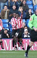 Photo: Mark Stephenson.<br />West Bromwich Albion v Sunderland. Coca Cola Championship. 03/03/2007.Sunderland's Dwight Yorke (R) celebrates his first half goal with team mate Stern John