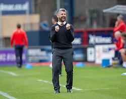 Motherwell's manager Stephen Robinson cele after Allan Campbell scored their third goal. Dundee 1 v 3 Motherwell, SPFL Ladbrokes Premiership game played 1/9/2018 at Dundee's Kilmac stadium Dens Park