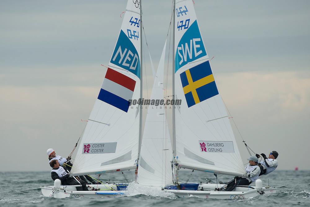 2012 Olympic Games London / Weymouth<br /> 470 Training race<br /> Coster Kalle, Coster Sven, (NED, 470 Men)<br /> Dahlberg Anton, Oestling Sebastian, (SWE, 470 Men)