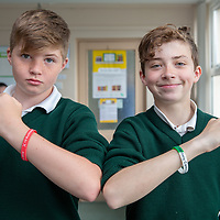 Kilkishen NS students Kyle Tuohy and Sean Ryan with a sample of the Jessies wristbands