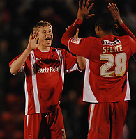 Simon Church (Orient) celebrates his equalising goal. 2-2  Leyton Orient v Leeds United 7/4/2009 Credit : Colorsport / Andrew Cowie
